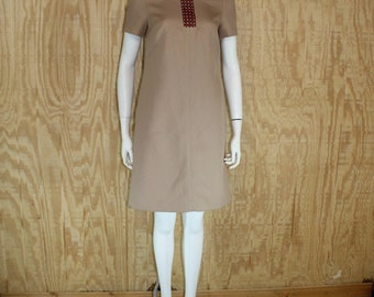 Vintage 1990's ANNE KLEIN Burlap Leather Webbing 1960's Inspired Mod Mini Shift Dress Small S