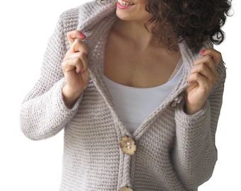 Ecru Cardigan With Hood Coconut Buttons