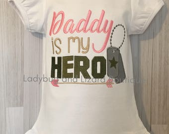 Girl's Daddy is My Hero Short/Long Sleeve Ruffle Top Sizes 12M-18M, 2T-5T, 6