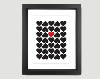 Hearts Print , Love Print , Printable Art , Printable Wall Art , Digital Print , Love Printable , Heart Wall Print , Valentines Print,