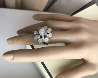 huge vintage ring with faux moonstone cabochons
