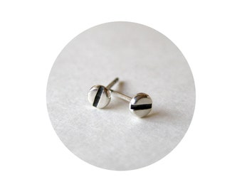 Tiny Silver SCREW Studs. 4mm Tiny polished Sterling SILVER Stud Earrings. Silver HARDWARE Jewelry. Slotted Screw Earrings for Men and Women
