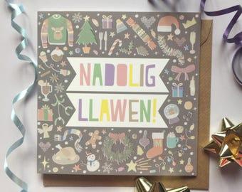 Carden Nadolig Llawen! (Llwyd) - Pastel Welsh 'Merry Christmas!' Card (Grey)