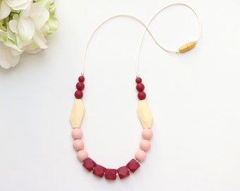 RETIRING* Trendy Silicone Necklace Merlot and Rose | Silicone Teething Necklace, Silicone Nursing Necklace, Breastfeeding Necklace, Chewelry