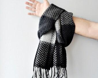 Black wool scarf Winter scarf Blanket scarf Wool scarf Men's winter accessory Geometric scarf Women scarf Plaid Unisex scarf Warm scarf