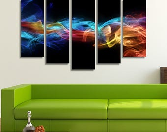 LARGE XL Abstract Art Canvas Print Ice and Fire Canvas Blue and Red Air Canvas Wall Art Print Home Decoration - Framed and Stretched - 7038