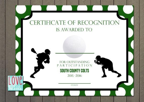 Lacrosse sports award certificate 85 x 11 printable digital yelopaper Gallery