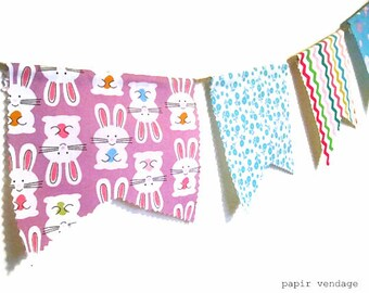 Easter Bunting Banner, Easter Decorations, Spring Bunting Banner, 9ft Fabric Bunting Banner, Spring Trends, Bunnies, Easter Eggs, Flowers,