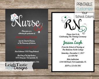 Sherri creasy on etsy sale medical nurse graduation invitation rn bsn nurse pinning ceremony invitations nursing school graduation filmwisefo