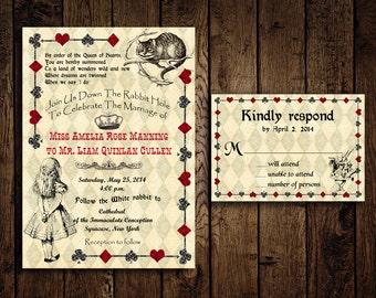 Printable Alice in Wonderland Wedding Invitation and Response Card - DIY - Mad Hatter Wedding Invitations