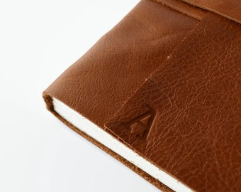 Lined Leather Journal Handmade Notebook, Diary, Travel Journal, Writing Journal, Personalized With Initials, Cognac Brown Leather 4x6