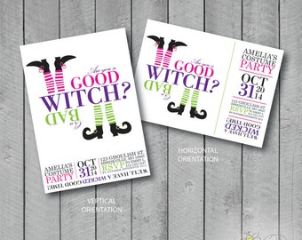Custom Are you a Good Witch or a Bad Witch? Halloween Invite