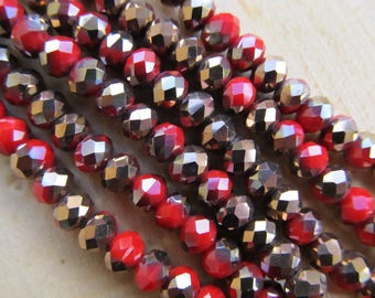 Set of 50 beads shaped 6 x 4 mm faceted glass: red/copper.