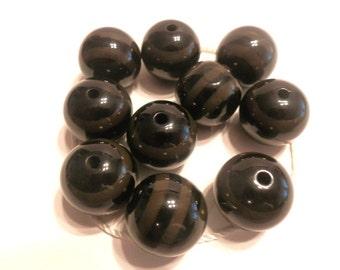 New 6 Chunky Beads Brown Black Stripe Acrylic Round Beads 20mm
