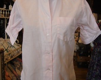 Vintage Light Pink Cotton and Dacron Tailored Blouse * 1950's * XS-S