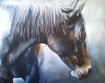 Beautiful greeting card of a bay horse in the moonlight from original oil painting