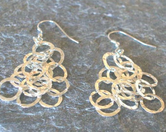 Sterling Silver Hammered Circles Earrings.  Dangle Earrings.  Cut-Out Circles Earrings.  Earring Gift for Her.