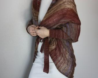 earth toned wool cardigan, brown wool sweater, cocoon sweater women, brown wool knit, earthy shrugs, oversized cardigan brown wool, mohair