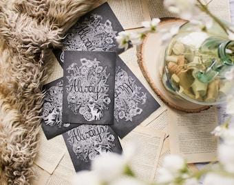 Always with Lily print- Harry potter, Snape, chalk art, bookish, patronus, doe, hogwarts, flowers