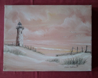 Small original oil painting - Lighthouse at sunrise- SALE
