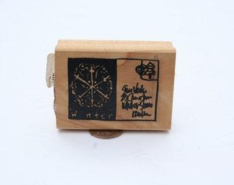 Christmas Winter Postcard Rubber Stamp, Wood Mounted, Christmas, Holiday, Winter, Christmas, NEW, Retired, Rare, Snow Flake, Santa Letter