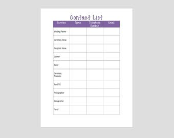 Instant Download - Wedding Planning Checklist & Contact List