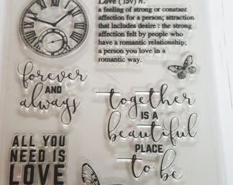 Acrylic Stamp Set Clock/ All You Need is Love, Together, Love