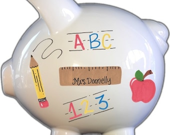 Personalized Piggy Bank with Teacher Design   White   Large   Baby Gift   Free Shipping