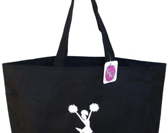 White Cheerleader Cheer Team Monogram Bag Custom Embroidered Black Coaching Gift READY TO SHIP! Elite Squad Tote