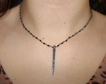 Pave Diamond Spike on Navy Beaded Chain
