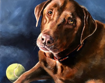 Chocolate lab, 14 x 14, Archival giclee print