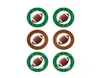 Football Birthday Cupcake toppers, DIY Birthday Decorations, 3 inch cupcake toppers, Football Printable, INSTANT DOWNLOAD