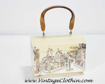 1960s Mod Decoupage Box Purse Street & Shop Scene Lucite Handle, Lucite Purse, Box Purse, Mod Purse, Decoupage Purse, 1960s Purse