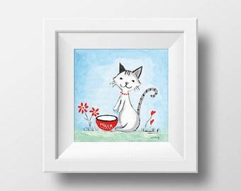 Cat Digital nursery wall art , print download