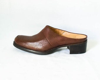 Rockport leather mules - Brown leather mules 7.5M - Women's leather mules - Brown leather slip on shoes - Chunky heel shoes -Women's 7.5