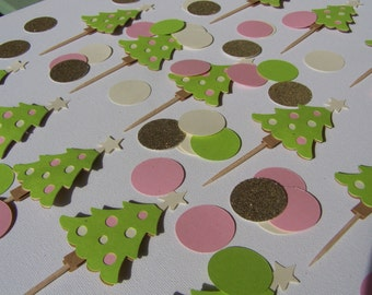 Old Fashioned Christmas cupcake toppers | cupcake picks set of 12