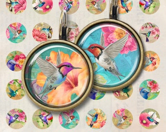 12mm and 20mm size Images Little HUMMINGBIRDS Printable download Digital Collage Sheet for pendants, earrings, bezel settings, bracelets