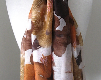 Brown floral infinity scarf with flowers and white background - Long rectangle scarf, light weight for spring, summer and fall