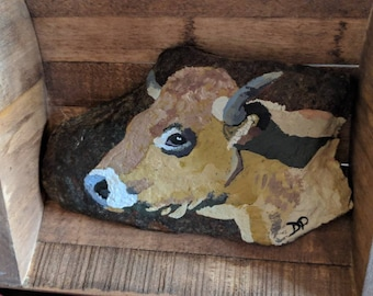 Bull Rock Painting - Collectable - Original Art - Acrylic