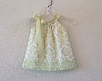 Baby Girls Green Pillowcase Dress - Sage Green Dress and Bloomers - Green and Cream Damask Sun Dress - Size Nb, 3m, 6m, 9m, 12m or 18m