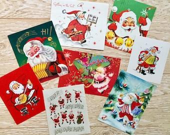 8 Vintage Musical Santa Christmas Cards, Midcentury Santa Claus Cards, 1950s-1960s Musical Santa Cards Set