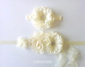 CAMELLIA - sash and headband set, Flower Girl Set, Maternity Sash, Wedding Sash and Headband, Bridal Sash, Flower sash, Newborn baby set