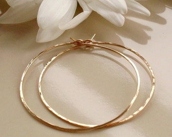 Gold Hoop Earrings, 1.5 Inch Hoops, Hand Crafted Hoops, Thin Lightweight Hoops, Hammered Hoops, Gold Filled Hoops, Gold Hoop Earrings