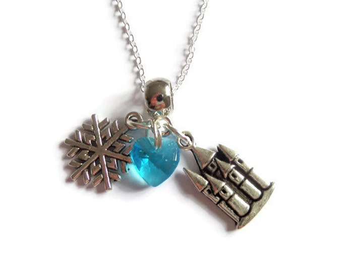 "ONCE UPON a TIME  Elsa Frozen inspired silver charm 20"" necklace fan gift xmas princess jewellery Uk"