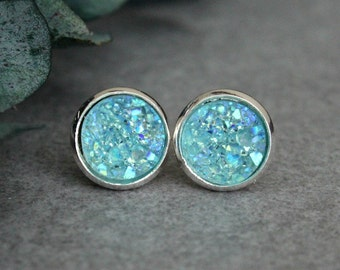 Mint Stud Earrings, Mint Earrings, Mint Druzy Earrings, Mint Green Earrings, Mint Green Studs, Mint Druzy Studs, Mint Post Earrings