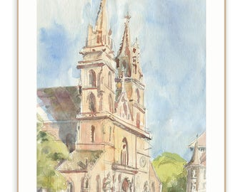 Basel watercolour drawing - PRINT of architectural sketch of Muensterplatz in Basel church urban sketch by Catalina.