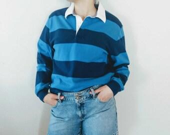 Vintage LL Bean Blue Striped Rugby Shirt Top Unisex, Men, Women, Size Small Regular Long Sleeve Rugby Street Wear