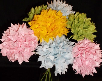 1.00 Each, 12  Long Stems Pastel Pom Bouquet, Wedding Bouquet, Paper Flowers, Paper Poms, Birthday Bouquet, Easter Flowers, Paper Flowers