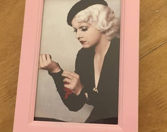 """Jean Harlow colour print in a baby pink frame 6x4"""""""