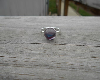 Pink Amethyst Stacking Ring, Sterling Silver Setting,  Size 7.5